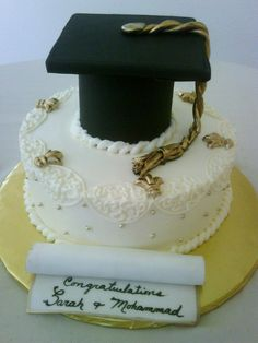 black and gold cakes | Black and Gold Cap and Diploma Graduation Cake