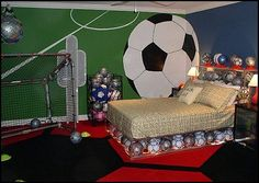 Decorating theme bedrooms - Maries Manor: Sports Bedroom decorating ideas maybe with a variety of balls, basketballs, footballs, soccer balls...