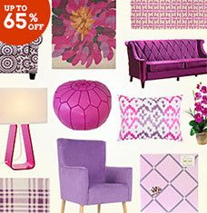 Looking to have some fun with Pantone's Color of the Year? These vibrant finds, featuring an array of fuchsia, purple, and pink accents, will help you work the shade into your existing decor. Upholstered chairs and eye-catching rugs make a stylish statement when paired with cream, gray, or silver furniture. And patterned pillows and silk flowers let you add a pop of purple without the commitment.