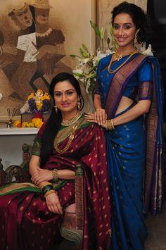 Shraddha Kapoor w/ her aunt Padmini  Kolhapure, both in Maharashtrian style #Saree & #Jewelry