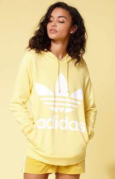 #ad. adidas Adicolor Yellow Trefoil Hoodie #ad
