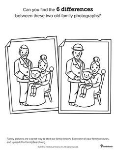 Family History coloring pages to help keep the kids quiet during