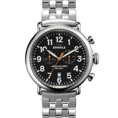 THE RUNWELL CHRONO 47mm Men's Black Chronograph Watch by Shinola, made in Detroit