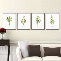 Kitchen art herb watercolor painting Thyme herb print by colorZen