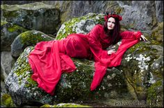 Red Chiffon Dracula's Bride Gown by Kambriel - Custom made for you. $300.00, via Etsy.