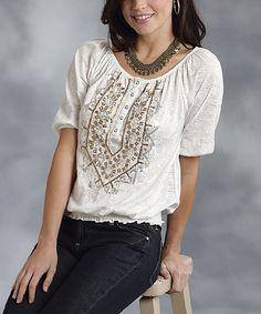 Look at this Roper White & Gold Embroidered Peasant Top - Women on #zulily today!
