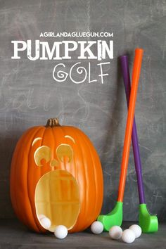 Pumpkin Golf Halloween Game Make your own Pumpkin Golf that the kids will love playing at Halloween Carnivals and Parties! The Pumpkin Games will be their favorite part of the party! Diy Halloween Party Games, Halloween Party Kinder, Adult Halloween Party, Halloween Tags, Halloween Celebration, Kids Party Games, Halloween Birthday, Halloween Party Decor, Halloween Crafts