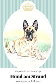 Zeichnung | Hund am Strand | Aquarell | Aram und Abra