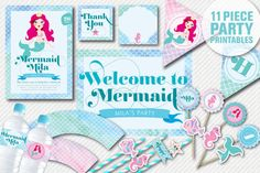 Mermaid Personalised Party Printables -DIY party - Collection