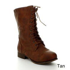 Top Moda Smart-2 Women's Military Lace up Combat Boots,7.5 B(M) US,Tan