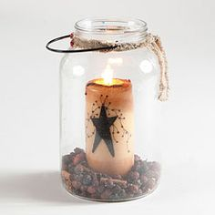 Gallon Jar With Candle-Change the decoration in the bottom with the seasons!