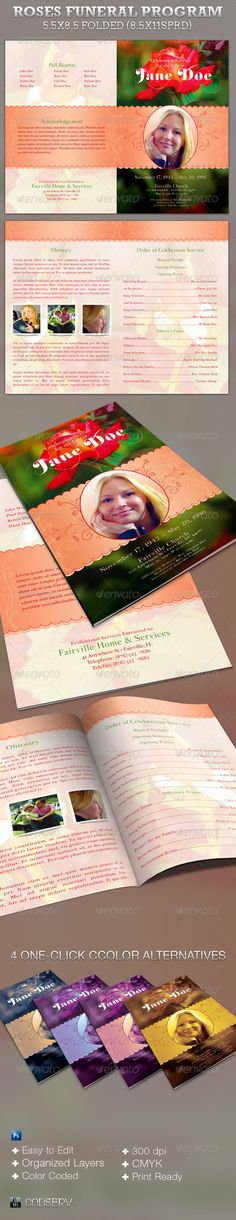Roses Funeral Program Template is for a modern commemorative or going home service. Designed specifically for funerals but can be edited for weddings etc. 4 one-click color options are included. In this package you'll find 2 Photoshop file. A great value. All layers in the files are arranged, color coded and simple to edit.