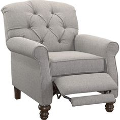 "Features: -Made in the USA. -Push back recliner: Yes. -Length from seat back to edge of footrest: 45"". Country of Manufacture: -United States. Frame Finish: -Espresso. Dimensions: Overall Height"