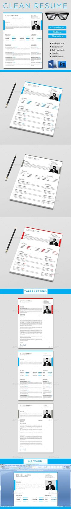 Clean Resume Template PSD. Download here:  #resume #template #2017