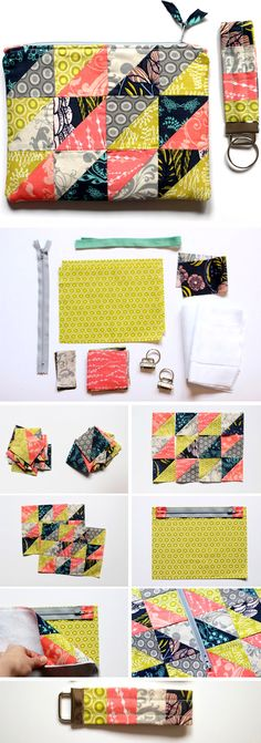 Sewing For Beginners Projects Patchwork Zipper Pouch Key FOB Tutorial ~ How to sew free tutorial for beginners. Ideas for sewing projects. Step by step illustration. Bag Pattern Free, Pouch Pattern, Bag Patterns To Sew, Sewing Patterns Free, Free Sewing, Sewing Diy, Patchwork Patterns, Patchwork Ideas, Quilting Patterns