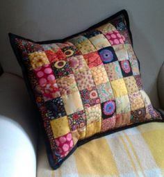 Autumn Gold patchwork and quilted cushion