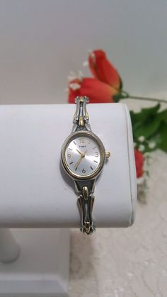 Ladies Times Two Tone Infinity Link Bracelet Quartz Watch With Fresh Watch Battery Watch is working. Preowned watch with no visible wear. Measurements in photos. Thank you for looking | eBay!