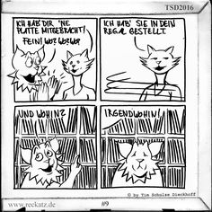 Bei einer Plattensammlung dieser Größe könnte es ein Weilchen dauern die neue Schallplatte zu finden. Mehr Cartoons über Vinyl süchtige Katzen findest sind alle zwei Wochen auf www.reckatz.de zu finden.