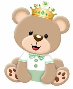 Baby bear with crown Clipart Baby, Teddy Bear Baby Shower, Baby Boy Shower, Scrapbooking Image, Diy And Crafts, Paper Crafts, Bear Party, Baby Scrapbook, Minnie