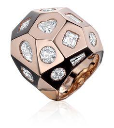 TABBAH. Biker Ring in 18K rose gold with diamonds.