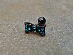 Bow Cartilage Earring 16ga Rhinestone Black Barbell Tragus Helix