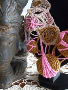 In love with pink today by Lorena Balea-Raitz on Etsy Lace Jewelry, Unique Jewelry, Jewellery, Point Lace, Pink Beige, Ganesha, Burlap Wreath, Crochet Necklace, Fashion Accessories