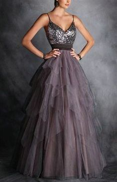 A line Spaghetti Straps Sequins Prom Dress,Brown Tulle Prom Gown,Tiered Skirt Evening Dress