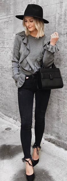 #fall #outfits grey sweater black pants hat