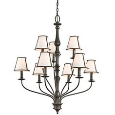"View the Kichler 43345 Donington 2-Tier Candle-Style Chandelier with 9 Lights - 72"" Chain Included - 34 Inches Wide at LightingDirect.com."