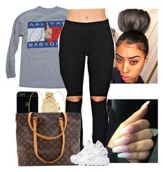 """""""❤️❤️❤️"""" by melaninmonroee ❤ liked on Polyvore featuring Michael Kors, Tommy Hilfiger, Accessorize, Louis Vuitton and NIKE"""