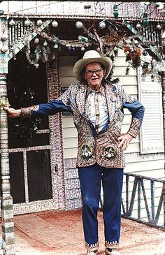 Loy Allen Bowlin, also known as The Original Rhinestone Cowboy, was an outsider artist from McComb, Mississippi. His artwork largely included bejeweling his clothing, Cadillac, home and even his dentures with thousands of rhinestones.