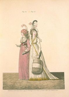 Gallery of Fashion December 1794. Robe à la Turque. Evening dresses. FIG. XXXIV. HEAD-DRESS. The hair in light curls; double chignon. the ends returned in ringlets. White and coquelicot striped Barcelona twisted turban, the end falling very low...