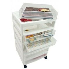 Scrapbook Chest with Organizer Top - 6 Drawers - 15.88 X 14.25 X 26.75 $41.50