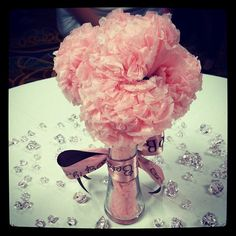 tissue paper flower centerpieces. Except, don't stuff the vase with tissue paper too. Maybe dice?