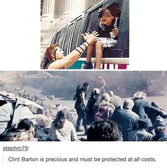 In both Avengers movies, he's the guy that's spending his time getting civilians to safety. Clint is my hero.