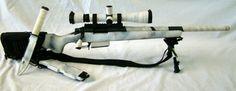 White and grey snow terrain camo paint rifle