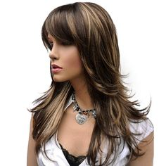 ZYR Women's Wig Long Straight Layered Wig Brown with Blonde Highlights Synthetic Full Wigs