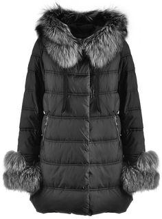 Luxusní dámská zimní bunda s kožešinou na rukávech   Péřové zimní bundy   Parky   BUNDY   KABÁTY   SAKA   Chicshop.cz