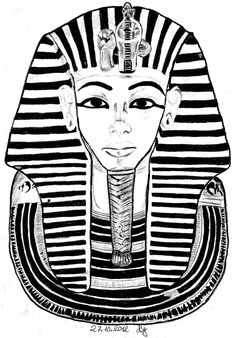 Free coloring page coloring-egypt-mask-toutankhamon. The Famous mask of Tutankhamun, coloring