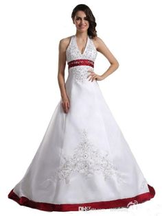 2015 Hot Sale Bead Sequined Sweep Train Sleeveless A-Line Halter Red and White Embroidery Wedding Dresses vestido de noiva W155