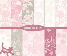 Floral digital paper Pink digital paper by DigitalCSPrintables