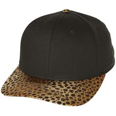 Flex Fit Last Leo Two Tone Cap ($22) ❤ liked on Polyvore featuring accessories, hats, black, cotton hat, leopard print cap, caps hats, black hat and black peaked cap
