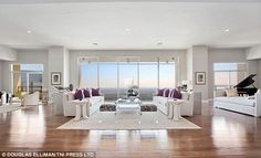 Stunning: The swish new apartment is a far cry from Chandler's West Village digs in the popular sitcom as it comes with seven bathrooms, two fireplaces and a 25 guest dining room in place of the foosball table/dinner table in Friends