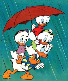Donald Duck and Nephews Huey, Dewy and Louie Duck.