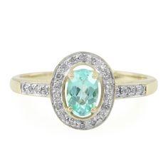 Bague de fiançailles en or sertie d'une Tourmaline Paraiba - Réf 6322TJ - Bijoux de mariage bleu ciel - Juwelo Bijouterie en Ligne