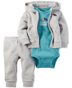 He'll be one cute little camper in this fun three-piece set from Carter's for baby boy, featuring a hooded sweatshirt and pants set matched with a charming graphic bodysuit. | Cotton | Machine washabl