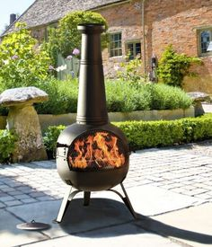 Chimenea Bbq Patio Heater Grill Steel Black Heat Resistant Paint Self Assembly Lahacienda