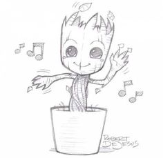 Groot from Banzchan on deviantART - this person makes really great time ., Dancing Groot from Banzchan on deviantART - this person makes really great time ., Dancing Groot from Banzchan on deviantART - this person makes really great time . Art Drawings Sketches, Cute Drawings, Awesome Drawings, Hipster Drawings, Wolf Drawings, Music Drawings, Drawings For Dad, Cool Drawings Tumblr, Alien Drawings