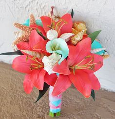 Silk Wedding Bouquet - Natural Touch Roses, Coral Tiffany Callas and Lilies Seashell Silk Bridal Bouquet