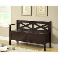 Monarch Specialties Cappuccino Finish Solid Wood Storage Bench from Harvey & Haley. Indoor Storage Bench, Entryway Bench Storage, Entryway Furniture, Bench With Storage, Furniture Sets, Storage Benches, Indoor Benches, Wood Benches, Entry Bench
